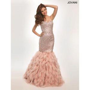 Jovani 92526A Feather Mermaid Blush Dress size 2